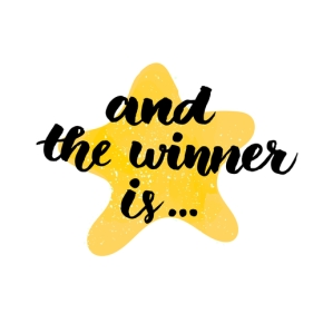 And the winner is. Giveaway banner for social media contests and special offer. Vector hand lettering at star background.